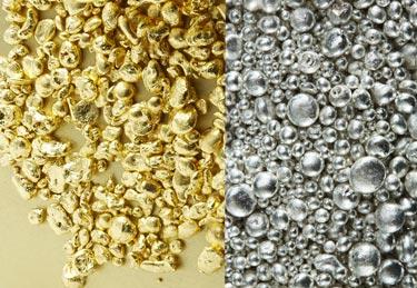 silber und gold granulat